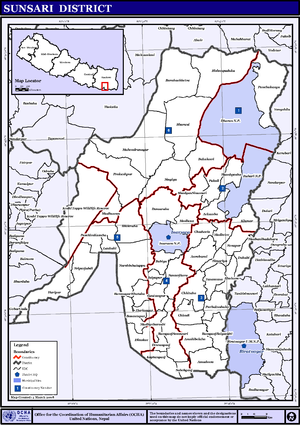Sunsari District - Map of the VDCs in Sunsari District