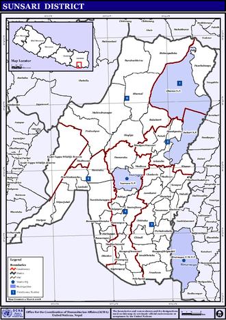 Sunsari District - Map of the VDCs in Sunsari District