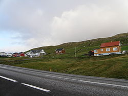 Nes, seen from the main road between Porkeri and Vágur