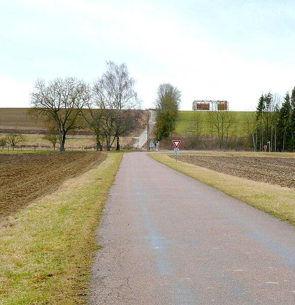 France, Nettancourt, Meuse (55) - L'intersection (nommée Ariola dans l'itinéraire d'Antonin) sur la voie romaine de Reims à Bar-le-Duc avec une autre voie venant de Châlons-sur-Marne (Duro Catelauni) via Charmont au sud et se dirigeant vers Stadunum (Sainte-Menehould) via Le Vieil-Dampierre au nord.