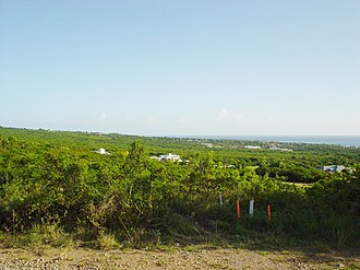 Nevis - On the western coastal plain, looking south-southwest towards Charlestown