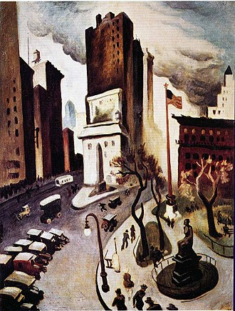 Thomas Hart Benton (painter) - In 1924, Benton depicted three landmarks in New York City's Madison Square within his painting New York, Early Twenties.