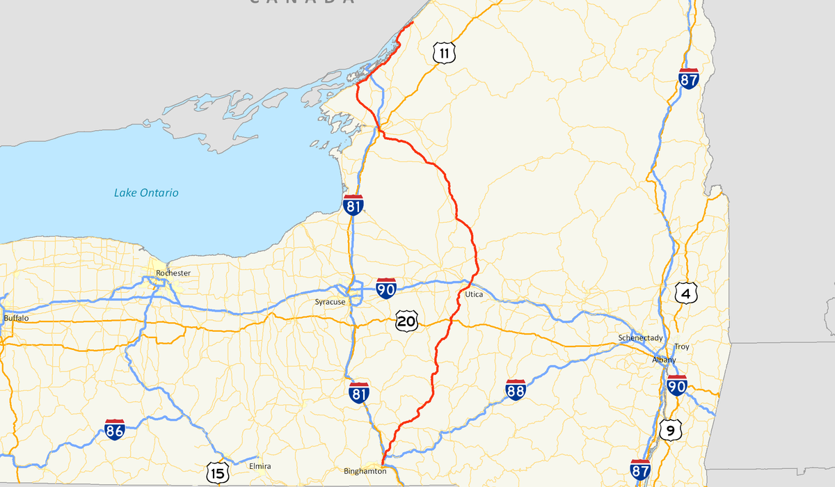 New York State Route Wikipedia - Upstate new york map
