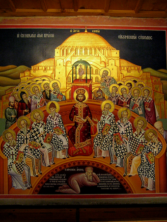 The First Council of Nicaea depicted with Arius beneath the feet of Emperor Constantine and the bishops Nikea-arius.png