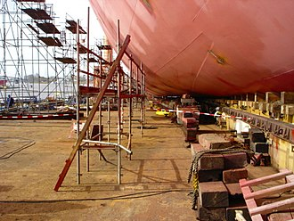 Anti-fouling paint - New ship being prepared for launch, showing fresh anti-fouling paint
