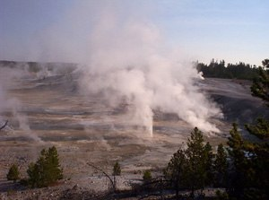 Geologic hazards - Norris geyser at Yellowstone NP, Sept.2003