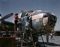 North American B-25 bomber is prepared for painting on the outside assembly line.jpg