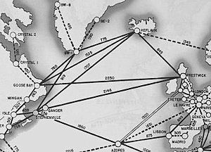Loring Air Force Base - A 1945 map of World War II supply ferry routes over the North Atlantic Ocean, with the location of Loring being right above Presque Isle's dot