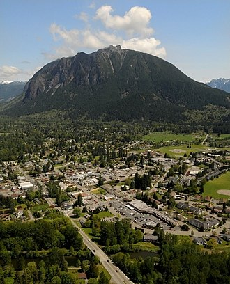 North Bend, Washington - Aerial view of North Bend, Washington with Mount Si.