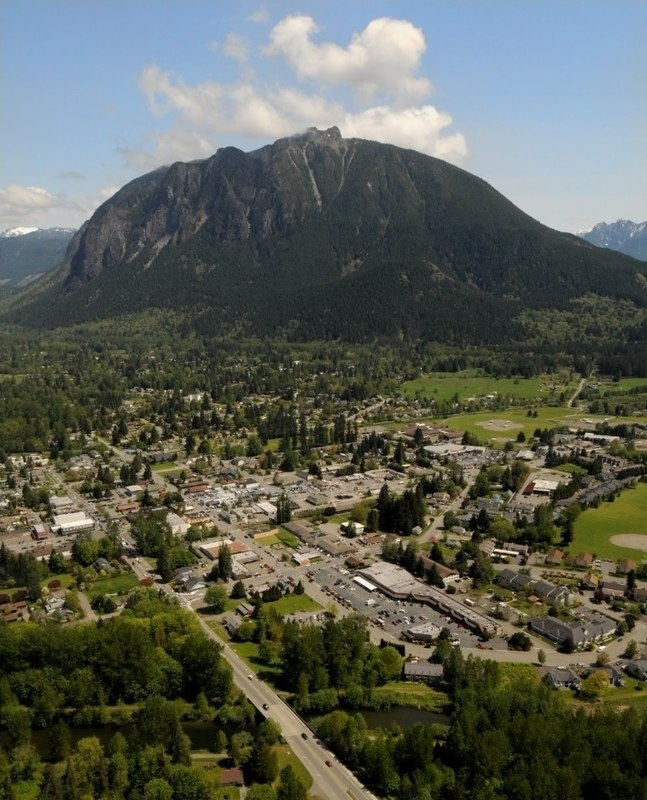 Aerial view of North Bend, Washington with Mount Si.