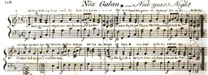 "Deck the Halls - The first known publication of the melody ""Nos Galan"", from ""Musical and poetical relicks of the Welsh bards"" (1794) by Edward Jones"