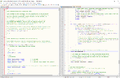 Notepad++ v6.9.2 on Windows 10, with MediaWiki 1.27.1 source code, with split window view.png