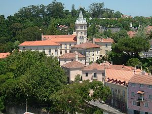 View of Sintra with the tower of the Municipality building.