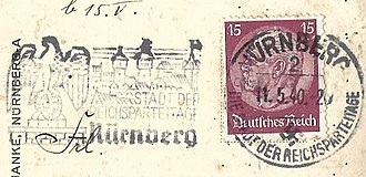 Nuremberg Rally - Postal marking from Nuremberg, May 1940, referring to the Reichsparteitage