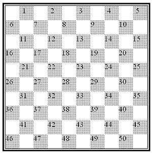 International draughts - Notation: squares with their numbers