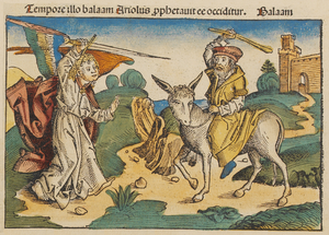 Balaam - Balaam and the angel. Nuremberg Chronicle (1493).