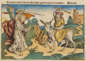 Deutsch: Bileam mit seiner Eselin, die vor dem...