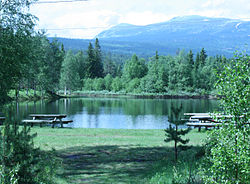 A landscape showing a grassy area with park benches near a lake, surrounded by forest and mountains