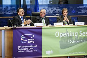 European Committee of the Regions - OPEN DAYS 2013. Former President of the CoR Ramón Luis Valcárcel Siso and the EU Commissioner responsible for Regional Policy Johannes Hahn are listening to the opening speech of the EC President José Manuel Barroso