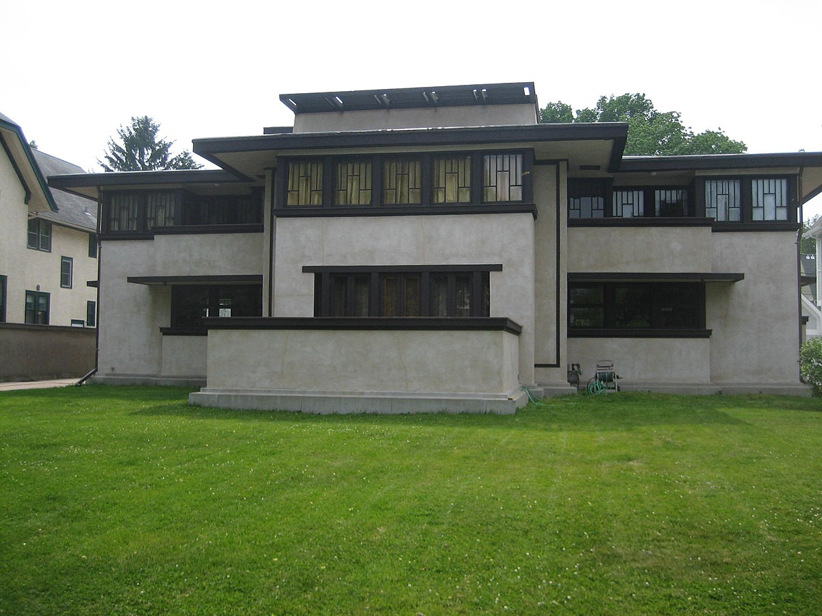 Frank lloyd wright prairie school of architecture historic for Prairie school house plans