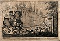 Obadiah riding a coach horse knocks Dr. Slop off his pony in Wellcome V0016122.jpg
