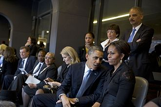Susan Rice - Rice (next to column behind President Obama) at Nelson Mandela's funeral in South Africa, December 2013