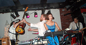 The Octopus Project - Ryan Figg and Josh Lambert exchange guitars in the midst of a song in San Francisco, August 2008.