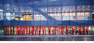 "Claude Cormier - ""Lipstick Forest,"" Palais de congres, seen from exterior."