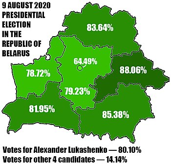 Official results of the Alexander Lukashenko in the presidential election 2020 in Belarus.jpg