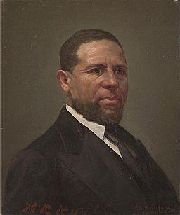 Oil portrait of Hiram Rhodes Revels by Theodor Kaufmann