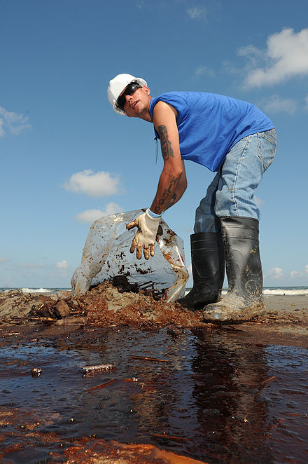 A worker cleans up oily waste on Elmer's Island just west of Grand Isle, La., 21 May 2010 Oil waste clean up at Elmer's Island 2010-05-21.jpg