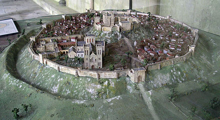 A reconstruction of Old Sarum in the 12th century Old Sarum Model from West.jpg
