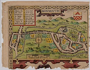 St James Square, Monmouth - 1610 map of Monmouth by cartographer John Speed, showing Dixton (East) Gate (marked M)