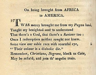 Phillis Wheatley - Image: On being brought from africa to america