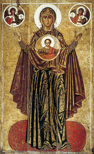 Akathist - Icon of the Theotokos Orans from Spasky Cathedral in Yaroslavl (13th-century).