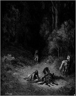 Bradamante descend de cheval après avoir fait mordre la poussière à un chevalier (Orlando Furioso)Illustration de Gustave Doré.