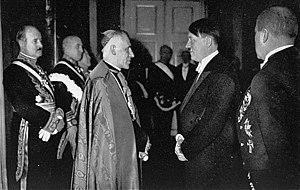 English: Hitler meeting the nuncio to Germany,...