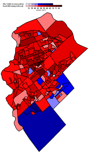 Ottawa South - 2008 election popular vote map by polling division