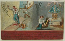 Painting in a naive style. At left a man bleeding heavily leans against a wall; in the background another man with a knife runs away. At right in a separate scene four people kneel, holding candles, before an altar with a crowned image of a woman. Four lines of writing in Spanish are at bottom, with a few other lines elsewhere.