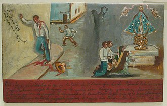 Retablo - Mexican ex-voto of 1935 - survival of a stabbing; Our Lady of San Juan de los Lagos again.