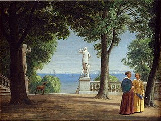 View of Kullen across the Lake from a Garden Terrace with Statues (Marienlyst)
