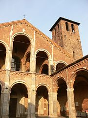 Sant'Ambrogio, Milan is constructed of bricks .