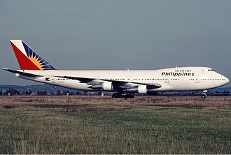 Philippine Airlines - A Philippine Airlines Boeing 747–200 at Rome in March 1989