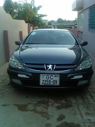 Vehicle registration plates of Ghana - A Peugeot 607 which was registered in the Greater Accra Region in 2009 The image was captured at Santa Maria, a suburb of GA Central Municipal Assembly of the Greater Accra Region