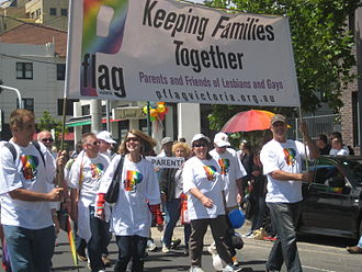 Straight ally - Parents and Friends of Lesbians and Gays march at an Australian Pride parade in 2011.
