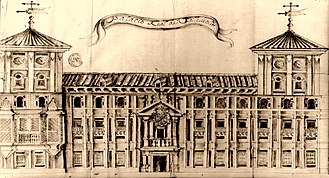 Royal Palace of Valladolid - Drawing of the Royal Palace of Valladolid circa 1780, by Diego Përez Martínez.