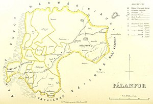 History of Palanpur - Map of the Palanpur Agency