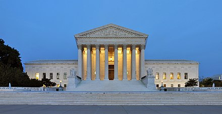 U.S. Supreme Court seat in Washington, D.C. Panorama of United States Supreme Court Building at Dusk.jpg