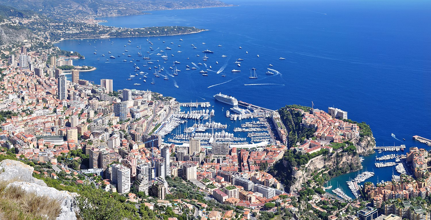 Panoramic view of Monaco from the Tête de Chien (Dog's Head) high rock promontory