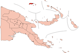 Map of Papua New Guinea. The Admiralty Islands are in the dark red area at the top of the map.